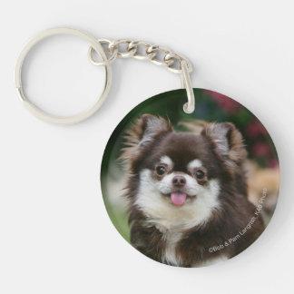 Long Haired Chihuahua Headshot 1 Double-Sided Round Acrylic Keychain