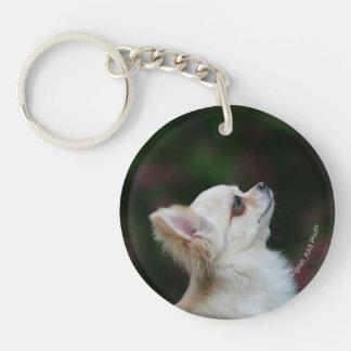 Long Haired Chihuahua Headshot 2 Double-Sided Round Acrylic Keychain
