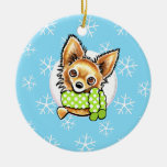 Long Haired Chihuahua Let it Snow Double-Sided Ceramic Round Christmas Ornament