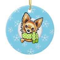 Long Haired Chihuahua Let it Snow Ornament