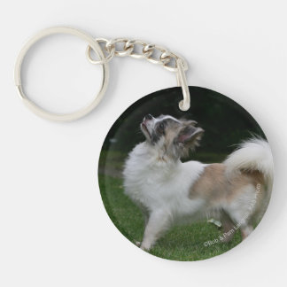 Long Haired Chihuahua Looking at Camera Double-Sided Round Acrylic Keychain
