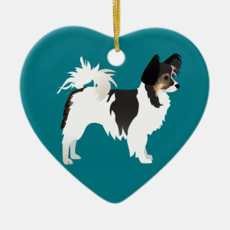 Long-haired Chihuahua or Papillon Basic Design Double-Sided Heart Ceramic Christmas Ornament