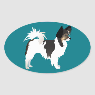 Long-haired Chihuahua or Papillon Basic Design Oval Sticker