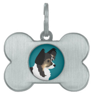 Long-haired Chihuahua or Papillon Basic Design Pet ID Tag