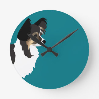 Long-haired Chihuahua or Papillon Basic Design Round Clock