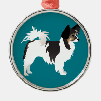 Long-haired Chihuahua or Papillon Basic Design Round Metal Christmas Ornament