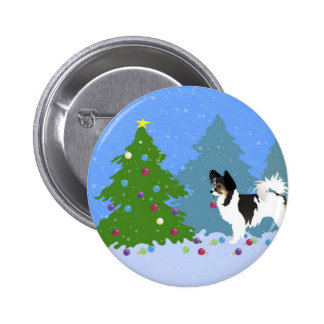 Long-haired Chihuahua or Papillon Decorating Tree Pinback Button