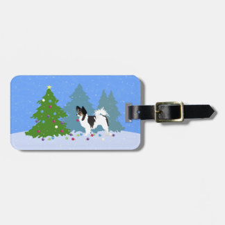 Long-haired Chihuahua or Papillon Decorating Tree Tag For Luggage