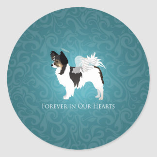 Long-haired Chihuahua Pet Memorial - Sympathy Classic Round Sticker
