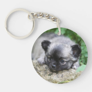 Long Haired Chihuahua Puppy Double-Sided Round Acrylic Keychain