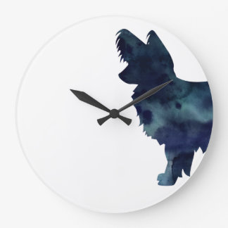 Long-haired Chihuahua Watercolor Black Silhouette Large Clock