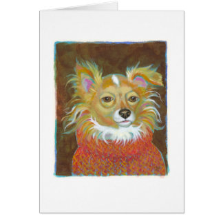 Long haired chiuahua school picture dog art CUSTOM Card