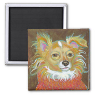 Long haired chiuahua school picture fun dog art 2 inch square magnet