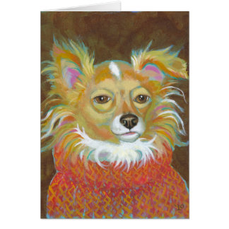 Long haired chiuahua school picture fun dog art cards