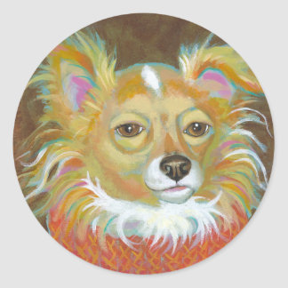 Long haired chiuahua school picture fun dog art classic round sticker
