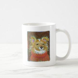 Long haired chiuahua school picture fun dog art coffee mug