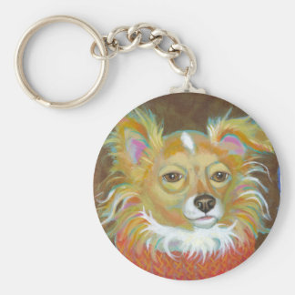 Long haired chiuahua school picture fun dog art keychains