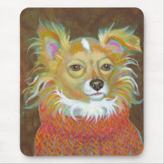 Long haired chiuahua school picture fun dog art mouse pad