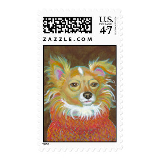 Long haired chiuahua school picture fun dog art postage