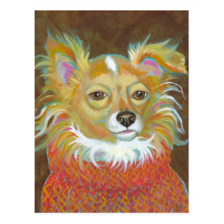 Long haired chiuahua school picture fun dog art post cards