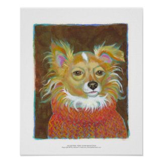 Long haired chiuahua school picture fun dog art poster