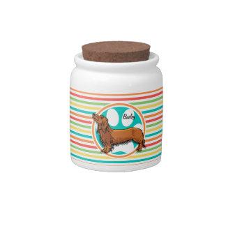 Long-haired Dachshund; Bright Rainbow Stripes Candy Jar