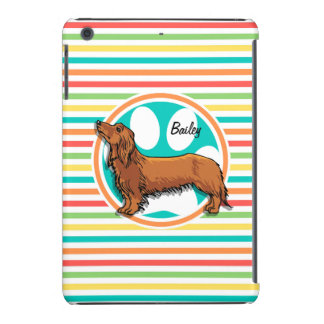 Long-haired Dachshund; Bright Rainbow Stripes iPad Mini Cases