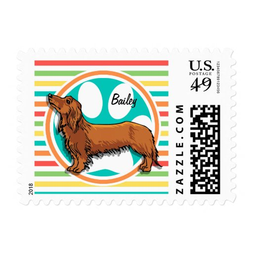 Long-haired Dachshund; Bright Rainbow Stripes Postage