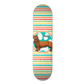 Long-haired Dachshund; Bright Rainbow Stripes Skateboard Deck