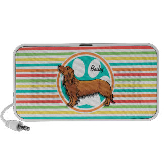 Long-haired Dachshund; Bright Rainbow Stripes Speakers