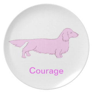 Long Haired Dachshund Courage Cancer Awareness Pla Plate