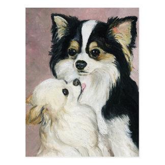 """Long Haired Dachshund"" Dog Art Postcard"