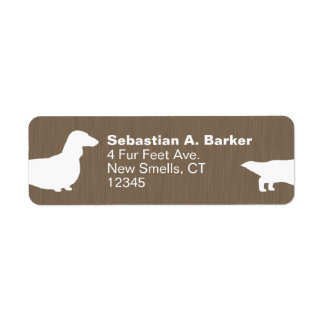 Long Haired Dachshund Dog Silhouettes Label