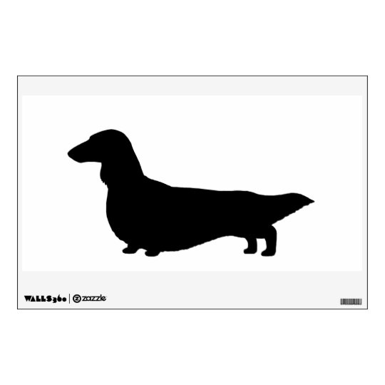 Long Haired Dachshund - Facing Left Wall Sticker