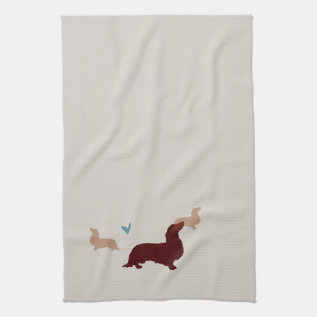 Long-haired Dachshund Kitchen Towel at Zazzle