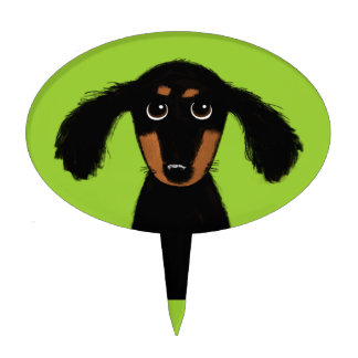 Long Haired Dachshund Puppy Cake Topper