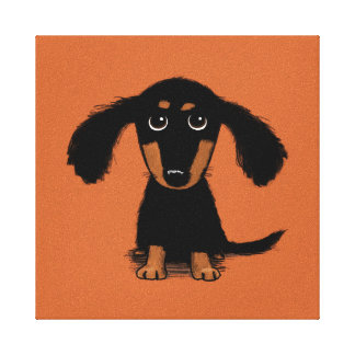 Long Haired Dachshund Puppy Canvas Print