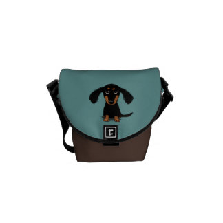 Long Haired Dachshund Puppy Courier Bag