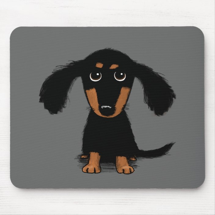 Long Haired Dachshund Puppy Cute Dog Cartoon Mouse Pad Zazzle Com