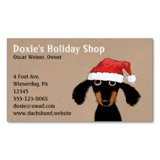 Long Haired Dachshund Puppy in Santa Clause Hat Magnetic Business Card