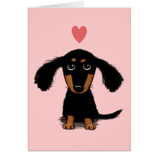 Long Haired Dachshund Puppy - Love Valentine Stationery Note Card