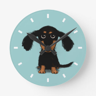 Long Haired Dachshund Puppy Round Clock