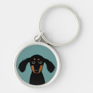 Long Haired Dachshund Puppy Silver-Colored Round Keychain