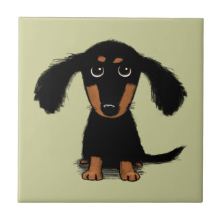Long Haired Dachshund Puppy Small Square Tile