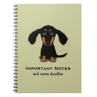 Long Haired Dachshund Puppy with Custom Text Spiral Note Books