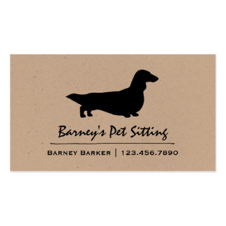 Long Haired Dachshund Silhouette Business Card