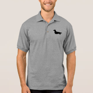 Long Haired Dachshund Silhouette Polo
