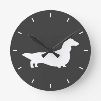 Long Haired Dachshund Silhouette Round Clock
