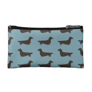Long Haired Dachshund Silhouettes Pattern Blue Makeup Bag