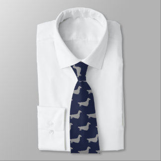 Long Haired Dachshund Silhouettes Pattern Blue Neck Tie